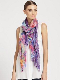 Bindya - Tiger Lily Woven Silk & Cashmere Scarf