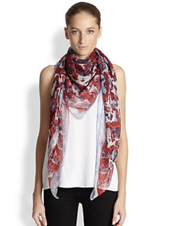 Alexander McQueen - Abstract Print Silk Scarf