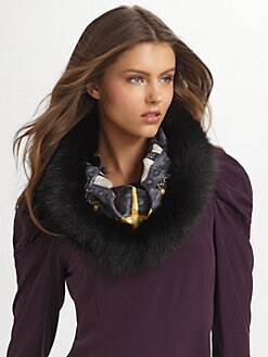 Gucci - Fox Trimmed Silk Ring Cowl