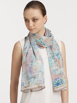 Etro - Trimmed Silk Dhely Paisley Scarf