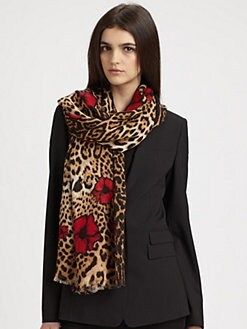 Saint Laurent - Leopard & Poppy Stole Scarf