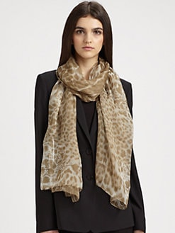 Saint Laurent - Leopard Silk Stole Scarf