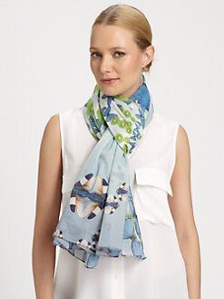 Yarnz - Butterfly-Print Cotton Scarf