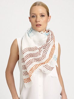 Yarnz - Pattern-Striped Cotton & Linen Scarf