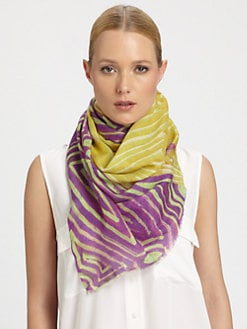 Bindya - Tribal-Print Silk & Cashmere Scarf