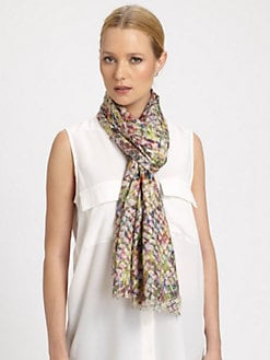 Bindya - Cascades Printed Silk & Cashmere Scarf