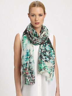 Bindya - Floral Canvas Pixellated Print Silk & Cashmere Scarf