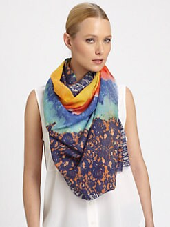 Bindya - Button Printed Silk & Cashmere Scarf