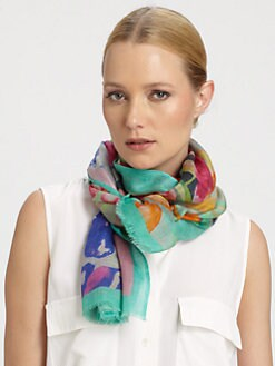 Bindya - Forget Me Not Printed Silk & Cashmere Scarf