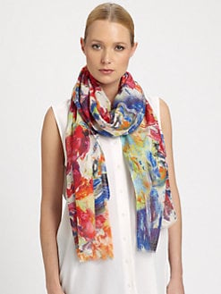 Bindya - Bouquet Painterly Printed Silk & Cashmere Scarf