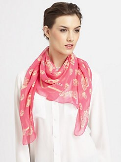 Alexander McQueen - Silk Chiffon Skull & Flower Print Scarf