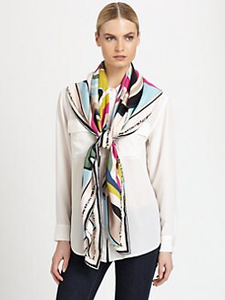 Emilio Pucci - Ovesized Silk Circle Strips Print Scarf