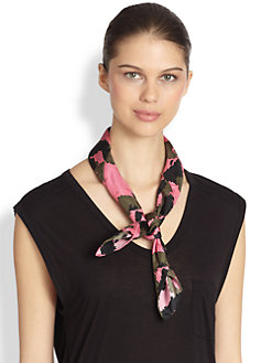 Mantero for Saks Fifth Avenue - Camo Print Silk Scarf