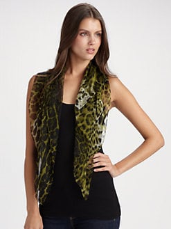 Saint Laurent - Silk Leopard Print Scarf