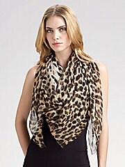 Leopard Skull Silk Chiffon Scarf
