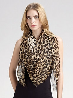 Alexander McQueen - Leopard Skull Silk Chiffon Scarf