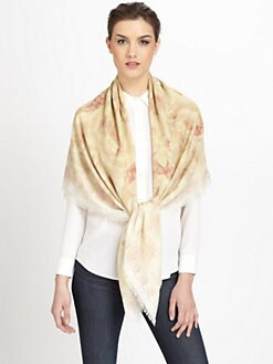 Alexander McQueen - Silk Chiffon Buttercup & Skull Print Scarf