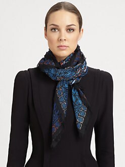 Alexander McQueen - Stained Glass Silk Shawl/Blue