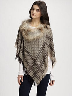 Gucci - Fox Fur Miniponce Poncho/Natural
