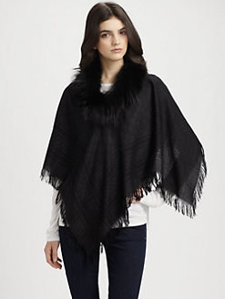 Gucci - Fox Fur Miniponce Poncho/Black