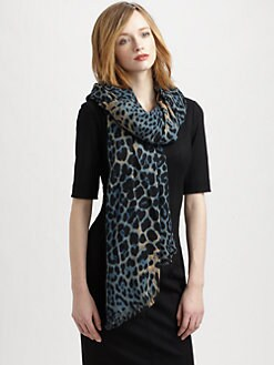 Saint Laurent - Wool & Cashmere Leopard Print Scarf