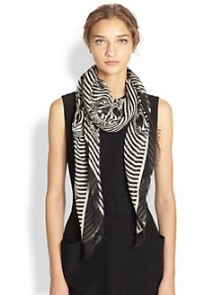 Alexander McQueen - Silk Optic Stripe Skull Shawl