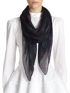 Alexander McQueen - Multi-Colored Scull Silk Shawl