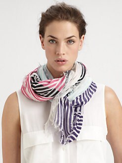 Cut 25 by Yigal Azrouel - Optical Stripes Modal & Cashmere Scarf