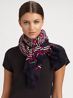 Marc by Marc Jacobs - Stripey Lips Wool Scarf