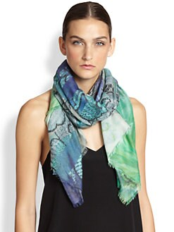 Athena Procopiou - Multi-Floral Cashmere-Blend Scarf