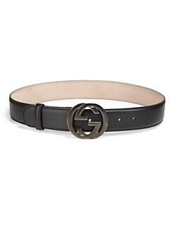 Gucci - Interlocking G Pebbled Leather Belt
