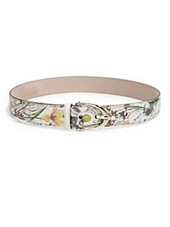 Gucci - Floral-Print Leather Belt