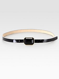 Kate Spade New York - Patent Leather Jewel Buckle Belt