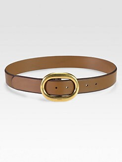 Gucci - Leather Round Buckle Belt