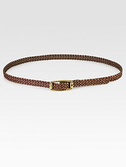 Gucci - Braided Leather Skinny Belt