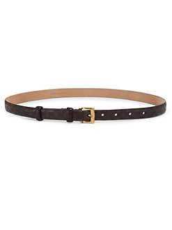 Gucci - Skinny Embossed Leather Belt
