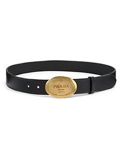 Prada - Calf Leather Logo Buckle Belt