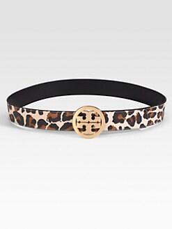 Tory Burch - Animal Printed Leather Logo Belt