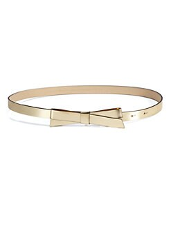 Kate Spade New York - Key Pieces Metallic Leather Bow Belt