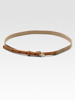 Tory Burch - Leather Accented Logo Belt