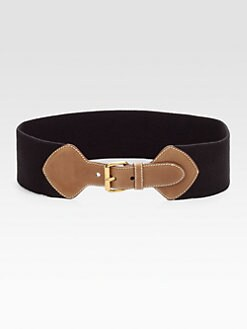 Prada - Leather-Trim Elastic Belt