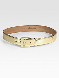 W. Kleinberg - Metallic Snake-Embossed Leather Belt