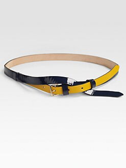 Vionnet - Layered-Look Cross-Over Patent Leather Belt