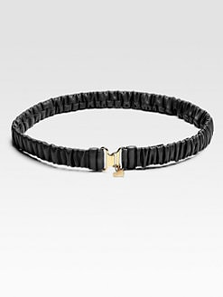 Miu Miu - Cinture Ruched Leather Belt/Black