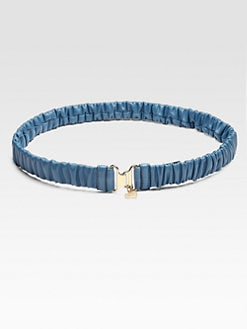 Miu Miu - Cintra Ruched Leather Belt/Cobalt