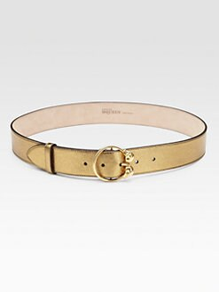Alexander McQueen - Double Skull Metallic Leather Belt