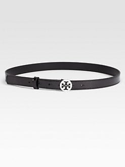 Tory Burch - Skinny Logo Patent  Leather Belt