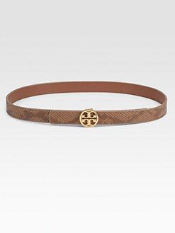 Tory Burch - Skinny Edye Reversible Leather Logo Belt