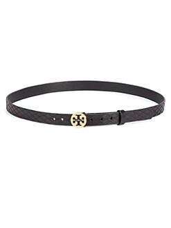 Tory Burch - Reva Leather Logo Belt