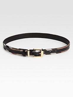 Burberry - Fann Leather Check Belt